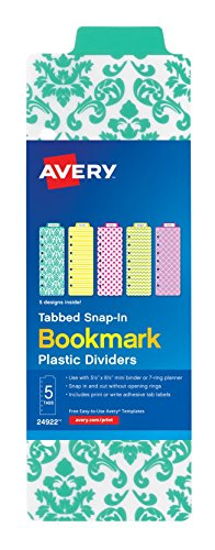 Avery Tabbed Snap-In Bookmark Plastic Dividers for five-1 ...